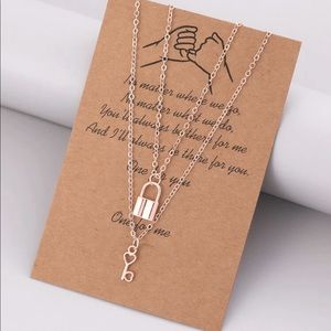 New 2 pc. Cute Lock Charm Necklace